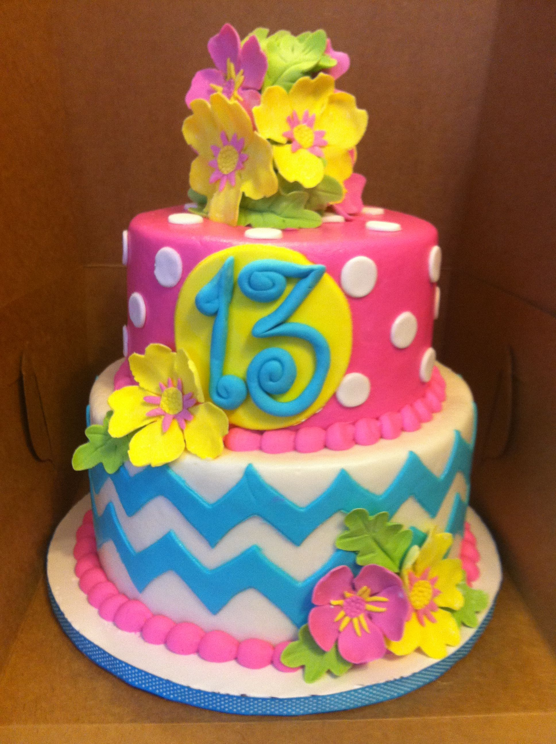Tropical chevron cake!  Chevron is the new zebra...  Get you some!