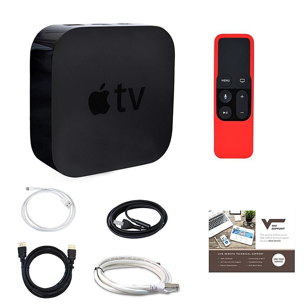 Apple Tv 32gb 4th Generation With Siri Remote And Gel Sleeve Hdmi And Ethernet Cables And 1 Year Tech Support Red Apple Tv Tvs Apple