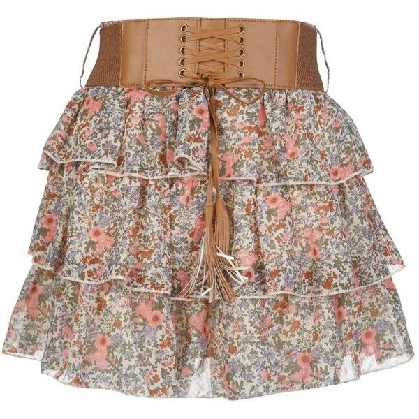 Petite Blue Floral Ditsy Print Belted Skirt ($26) found on Polyvore. only $26. i can maybe afford that