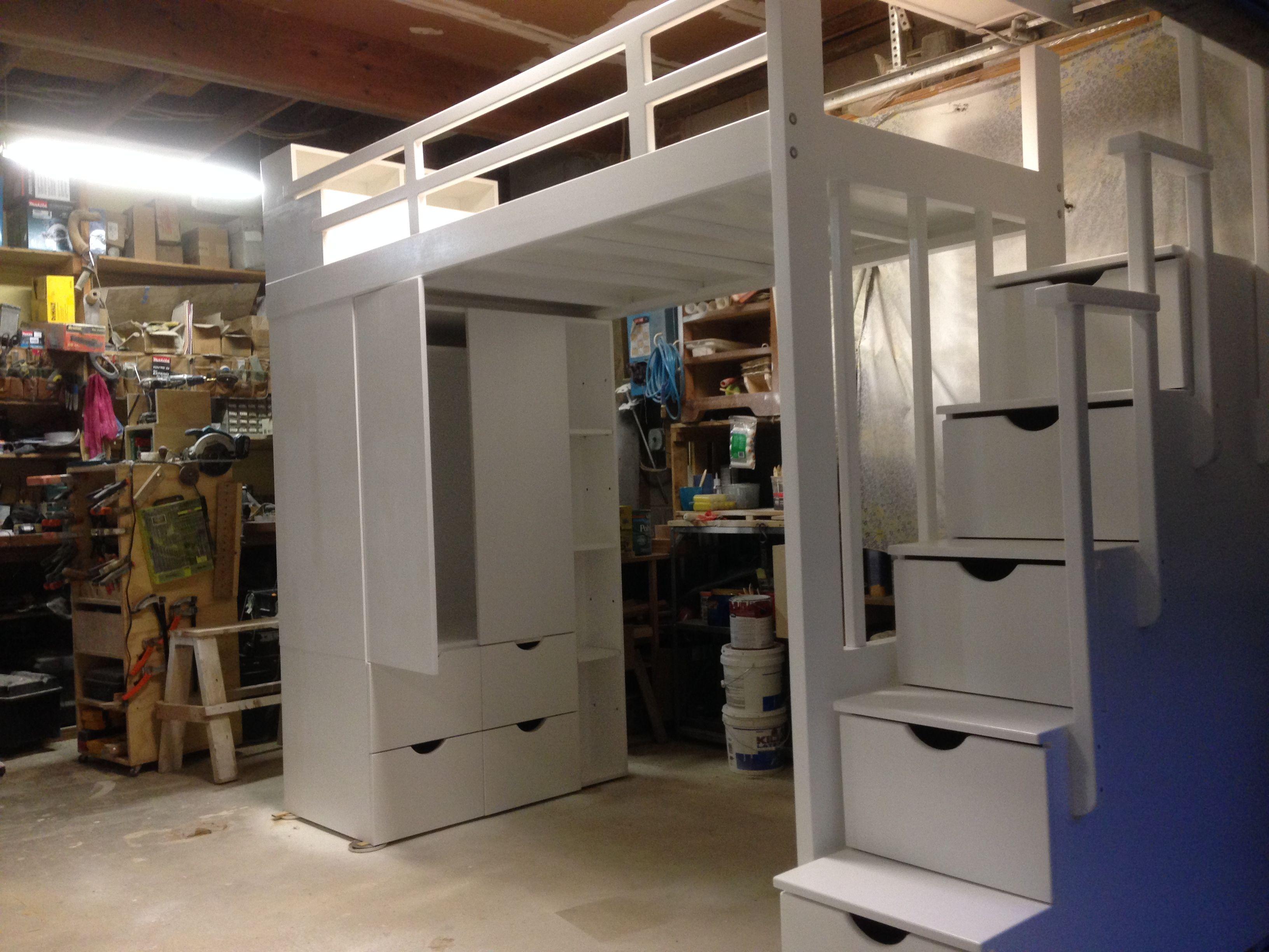 Wardrobe loft bed with storage steps | Laval Custom Lofts ...