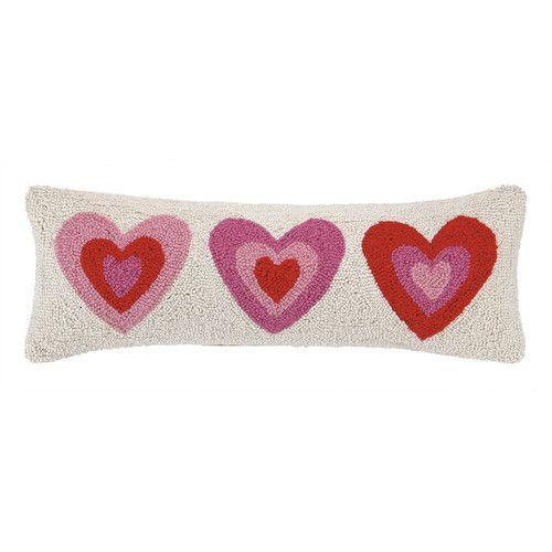 Found it at Wayfair - Pink Hearts Hook Wool Lumbar Pillow