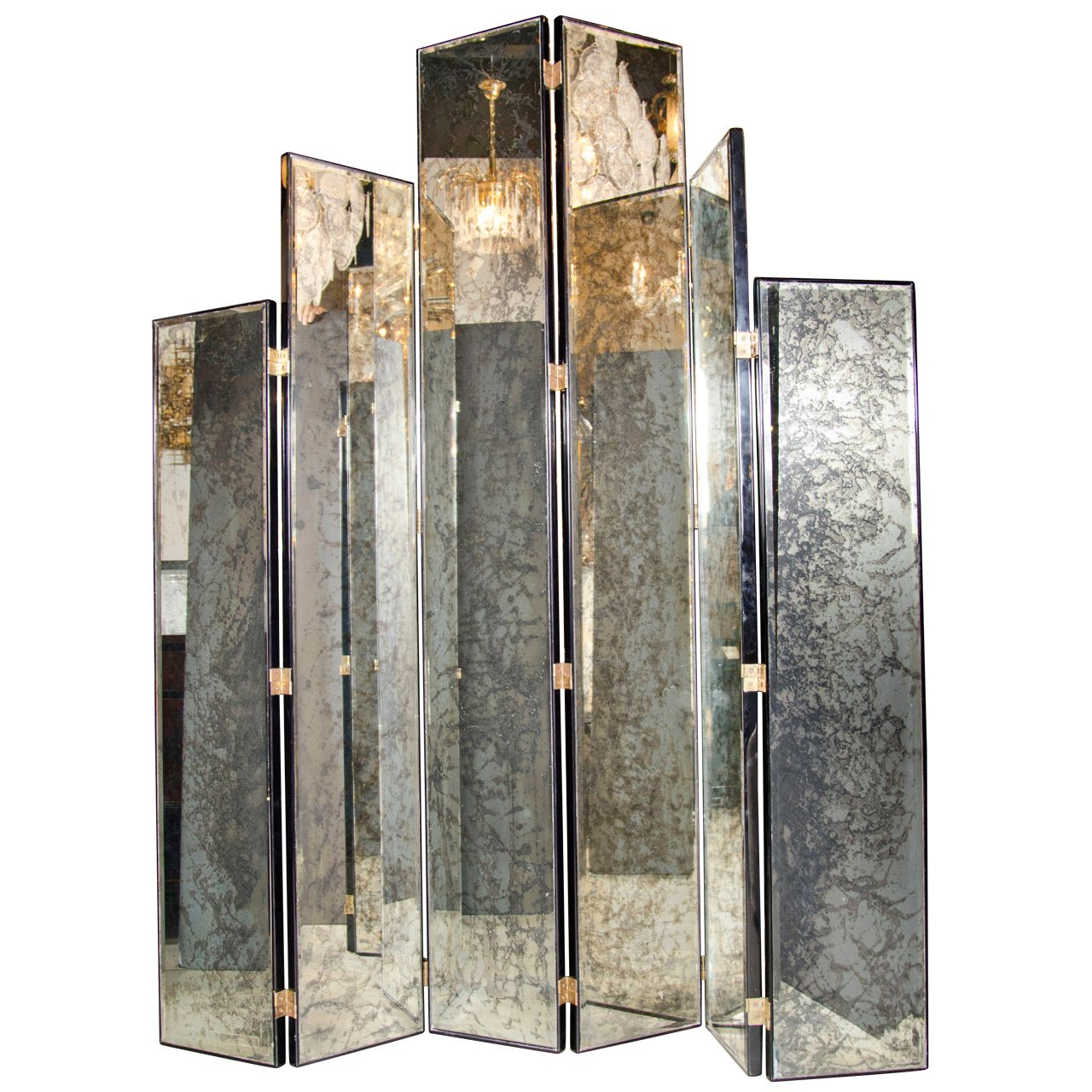 glamourous art deco skyscraper style mirrored screen paravent miroir paravent. Black Bedroom Furniture Sets. Home Design Ideas