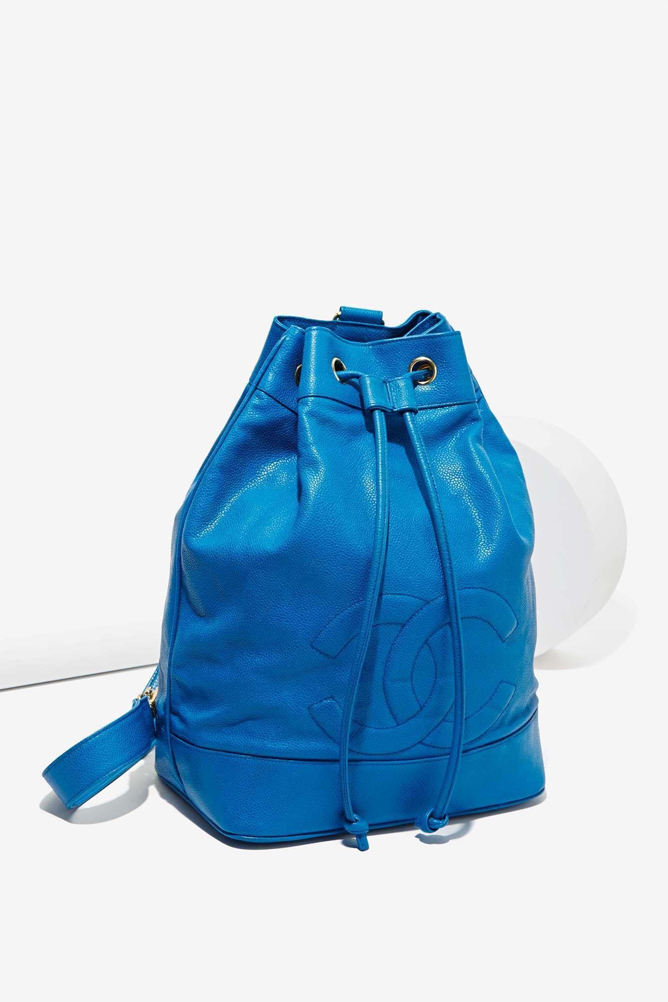 Vintage Chanel Blue Leather Bucket Bag