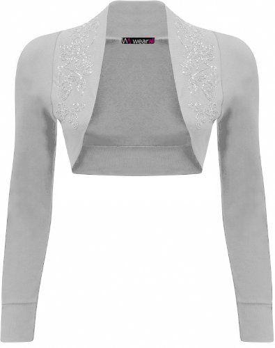 c7528f8c11 New Ladies Beaded Shrug Bolero Top Womens Sizes Light Grey 12 14 WearAll  http