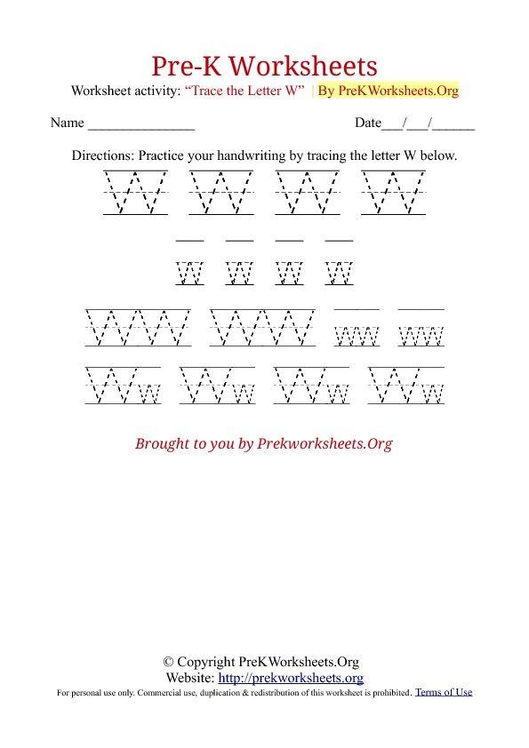 PreK Tracing Worksheet W teaching Pre k worksheets