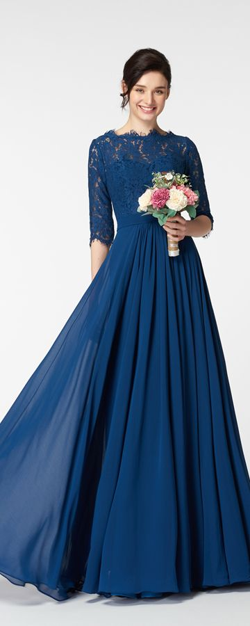 Navy Blue Lace Modest Bridesmaid Dress with Sleeves   Blue ...