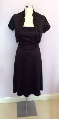103f846de920 WAREHOUSE BLACK SATIN BEADED TRIM STRAPLESS DRESS & BOLERO JACKET SIZE 10/12  - Whispers