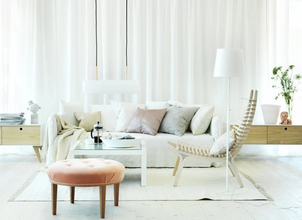 Lovely Awesome 5 Steps For A Perfect Swedish Interior Design : Modern White Floor  White Curtain Wall Sofa Pillow Lamp Peach Ottoman Karl Anderson Home Design Ideas