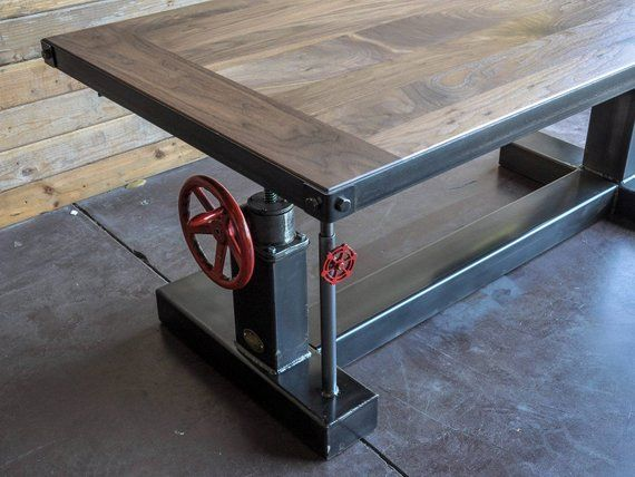 French Industrial Adjustable Height Desk - Vintage work Table #frenchindustrial