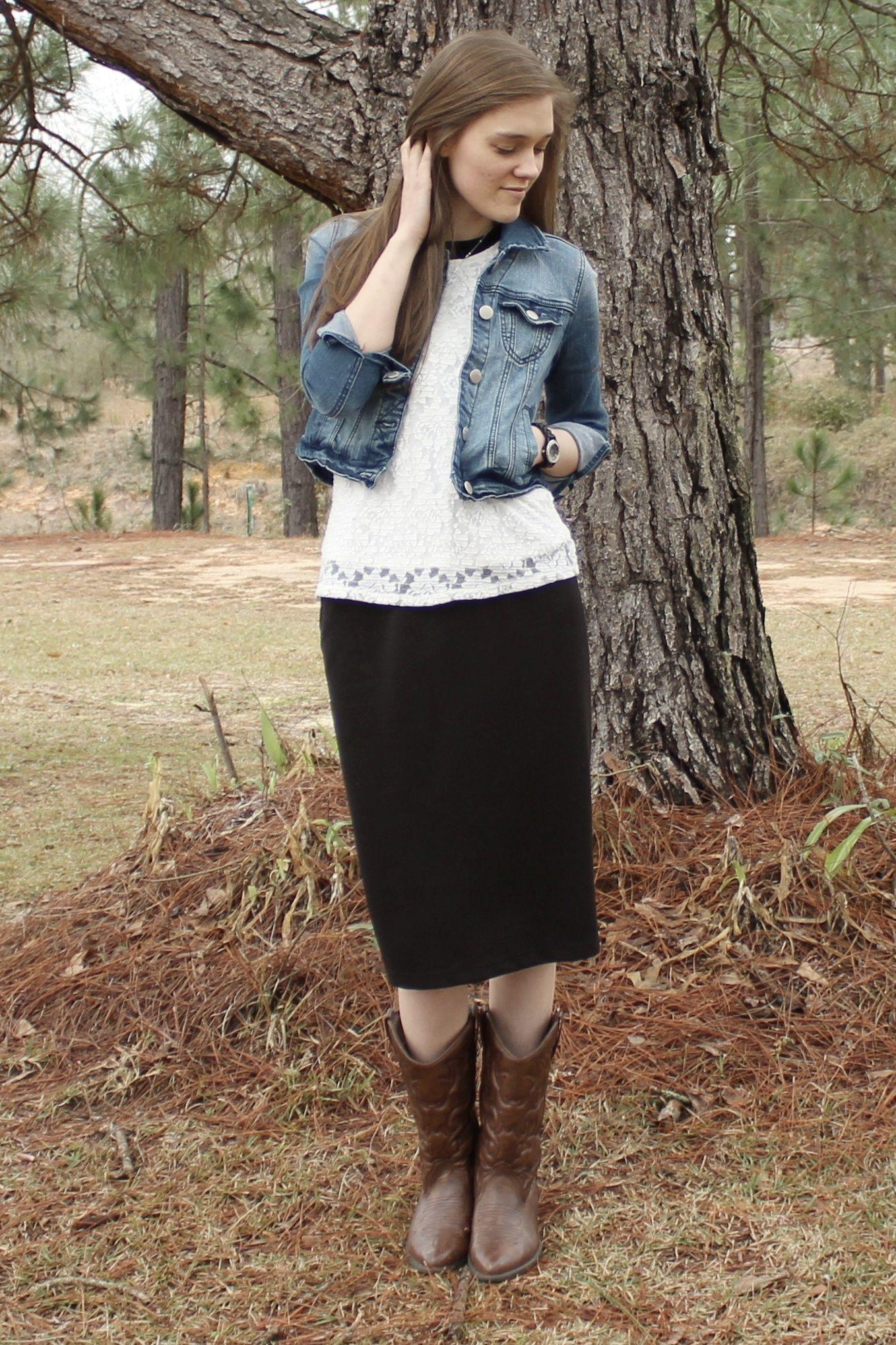 modest idea denim jacket black pencil skirt