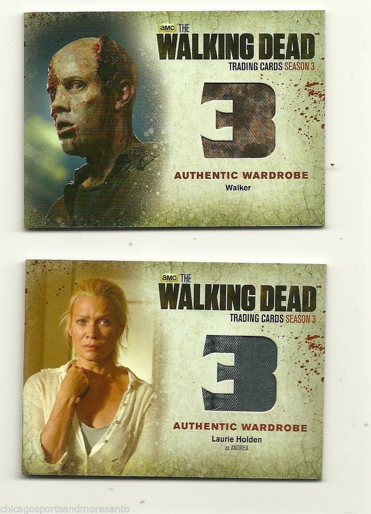 SOLD - THE WALKING DEAD WARDROBE CARD LOT of (2) : Andrea + a Walker