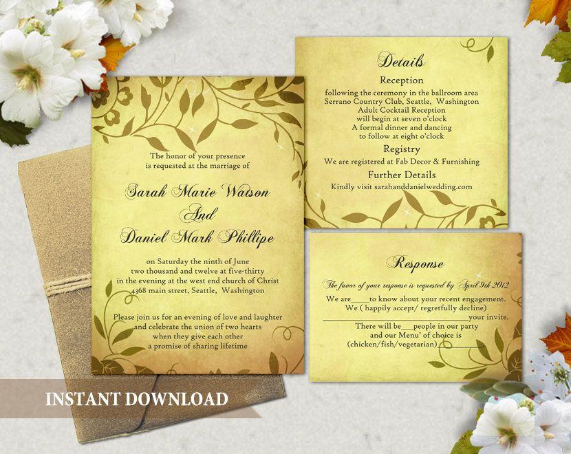 Rustic Wedding Invitation Template Download Printable Invitations
