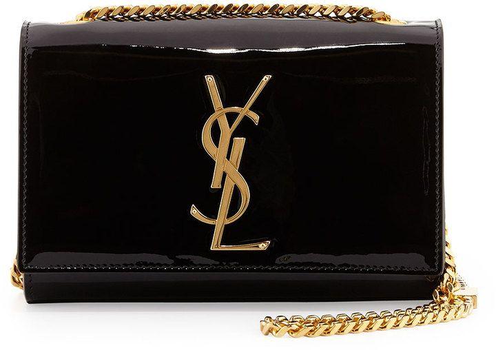Saint Laurent Monogramme Small Patent Crossbody Bag, Black on shopstyle.com