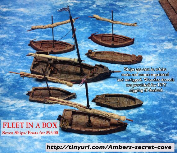 Fleet in a Box: Seven ships and boats 28mm by