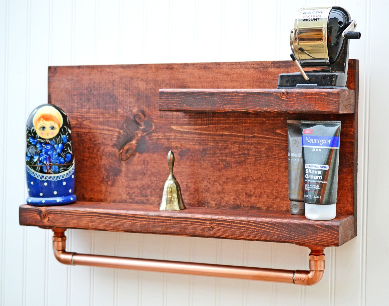 Bathroom Shelf with Copper Pipe Towel Rack, Bathroom Shelf, Bath ...