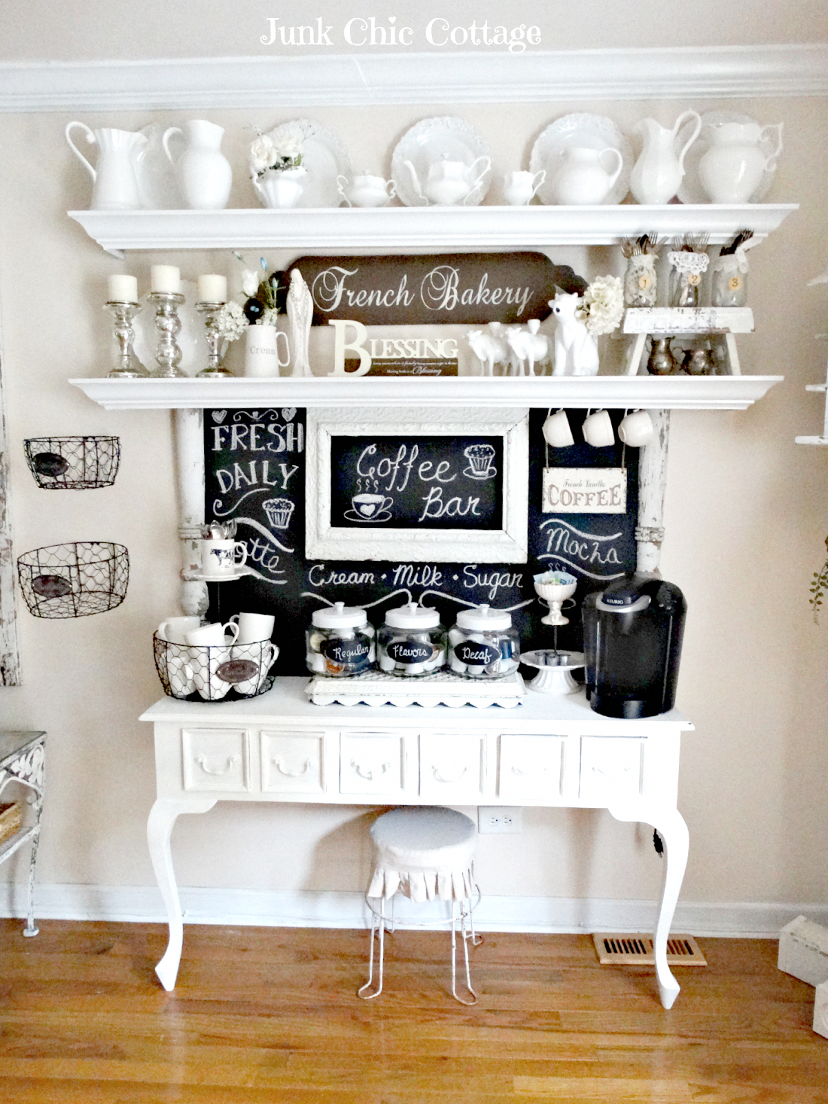 13 Adorable Diy Coffee Bar Ideas For Your Cozy Home Coffee Bar Home Home Coffee Stations Junk Chic Cottage