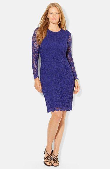 Lauren Ralph Lauren Peony Stretch Lace Dress Plus Size Available