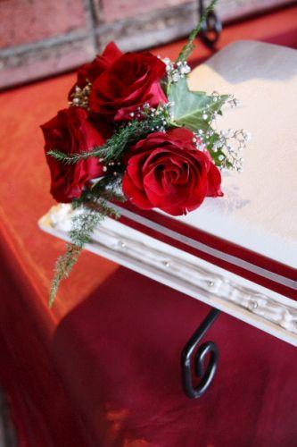Fresh Roses on Cake
