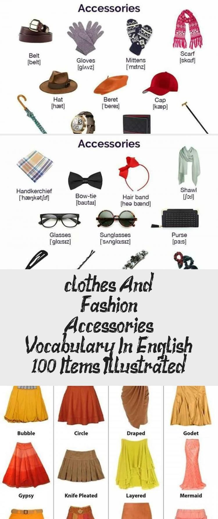 Clothes And Fashion Accessories Vocabulary In English 100 Items Illustrated Shoes In 2020 Fashion Accessories Fashion Clothes