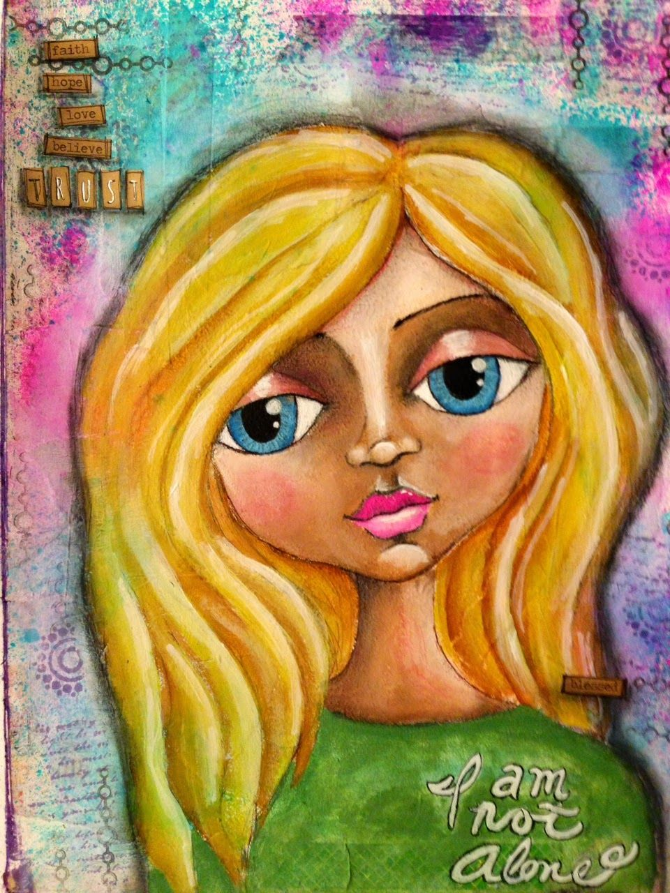 """Mixed Media Monday with Tracy weinzapfel Creative Dare - April 2014  Art journal, Whimsy girl, """"I am Not alone"""", big-eyed beauty, mixed media art, acrylic on paper,"""