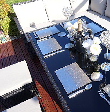 9 Seater Rattan Corner Garden Sofa & Dining Set Furniture Black Fascinating Dining Room Table Protective Covers Inspiration Design