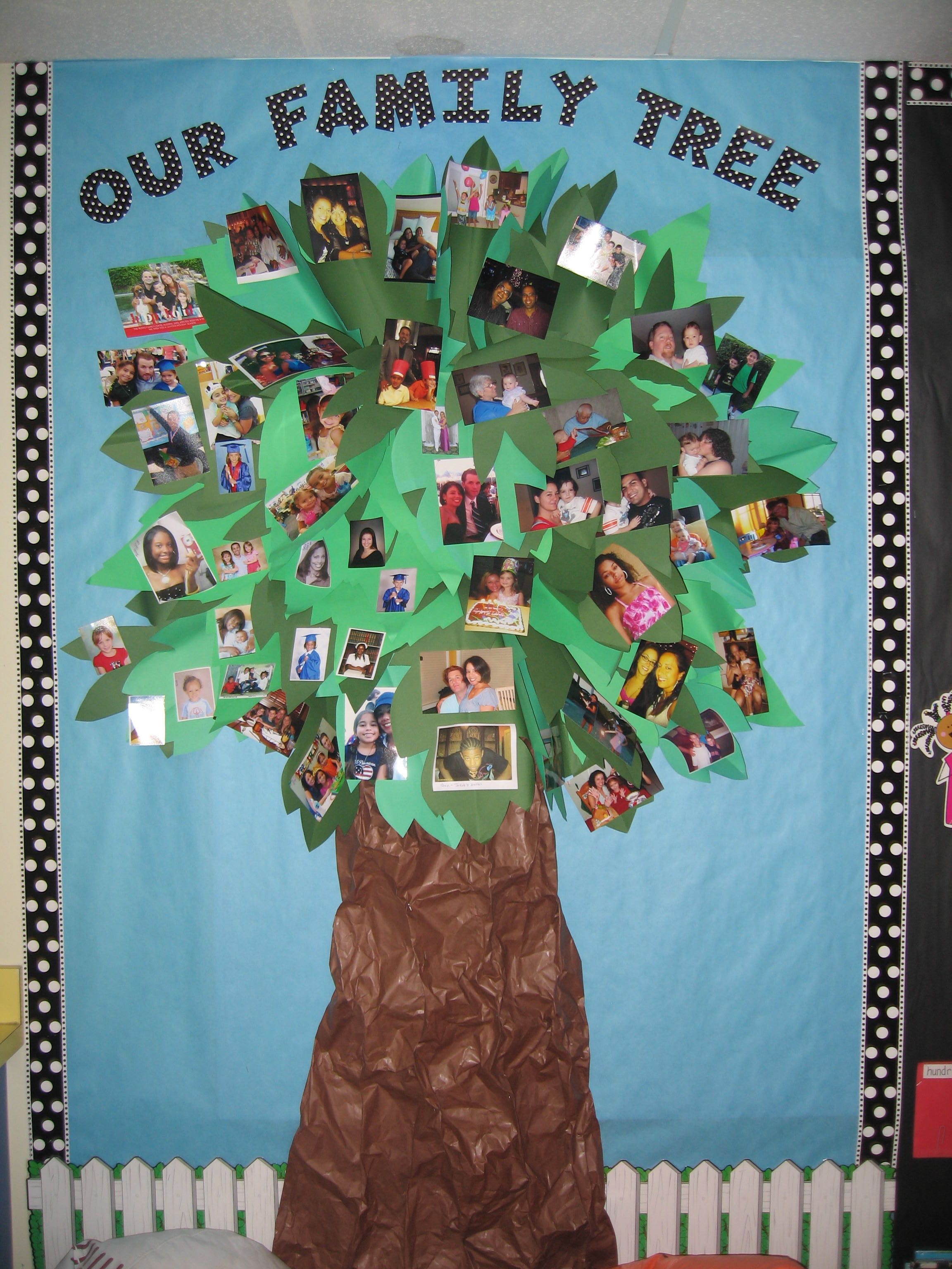 Each child brings in photos of family members to hang on for Family display board ideas