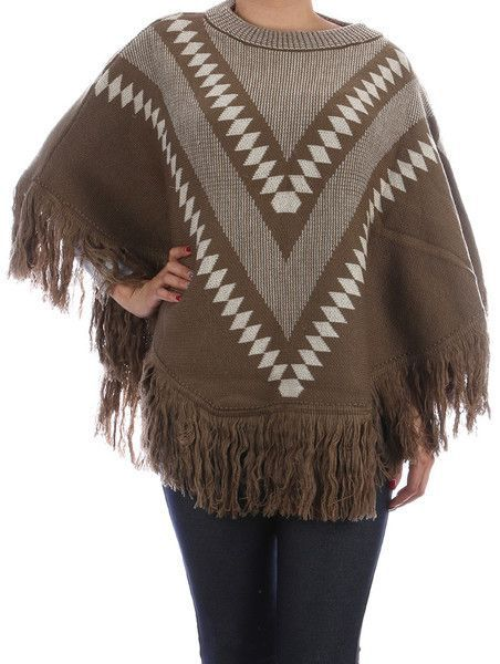 Diamond Pattern Tassel Poncho Knitted 28 Inch Long 100% Acrylic One Size
