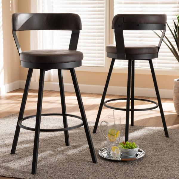 Baxton Studio Arcene 32 In Gray And Black Bar Stool Set Of 2 149 2pc 8968 Hd The Home Depot In 2020 Swivel Bar Stools Bar Stools Leather Bar Stools