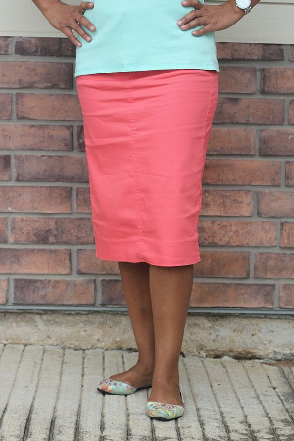 Coral Denim Skirt | Pencil skirts, I want and Colours