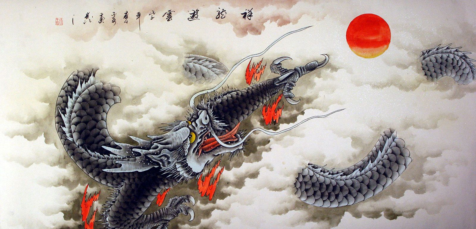 huge dragon painting asian art asian artwork dragon on great wall chinese restaurant id=85981