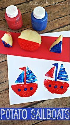 Sailboat Potato Stamping Craft for Kids Summer art project Summer Art Projects, Summer Crafts, Projects For Kids, Crafts For Kids, Arts And Crafts, Summer Diy, Craft Projects, Craft Ideas, Boat Crafts
