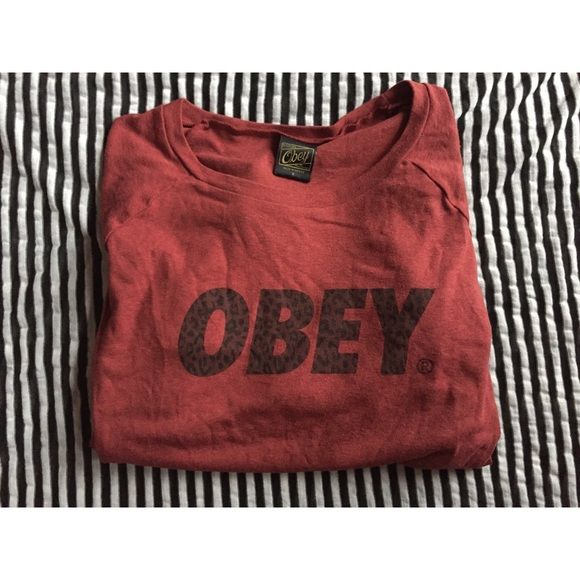 """Obey top Red Obey long sleeve top. """"OBEY"""" in leopard print on the front. Light material, not quite a sweatshirt. Very comfortable and soft. Great condition, only worn once! Obey Tops"""