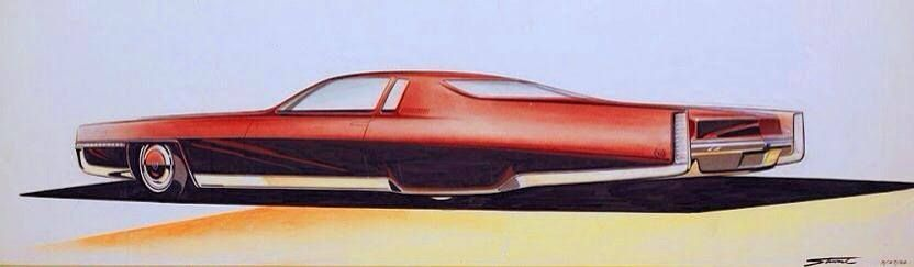 Classic Cadillac by GM designer Charles Stewart – 1968. (via (1) Allthesketches….