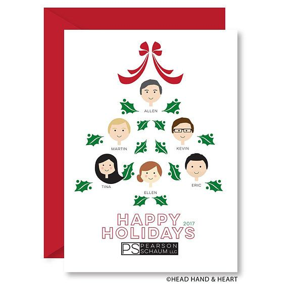 business christmas card corporate greeting card custom head hand
