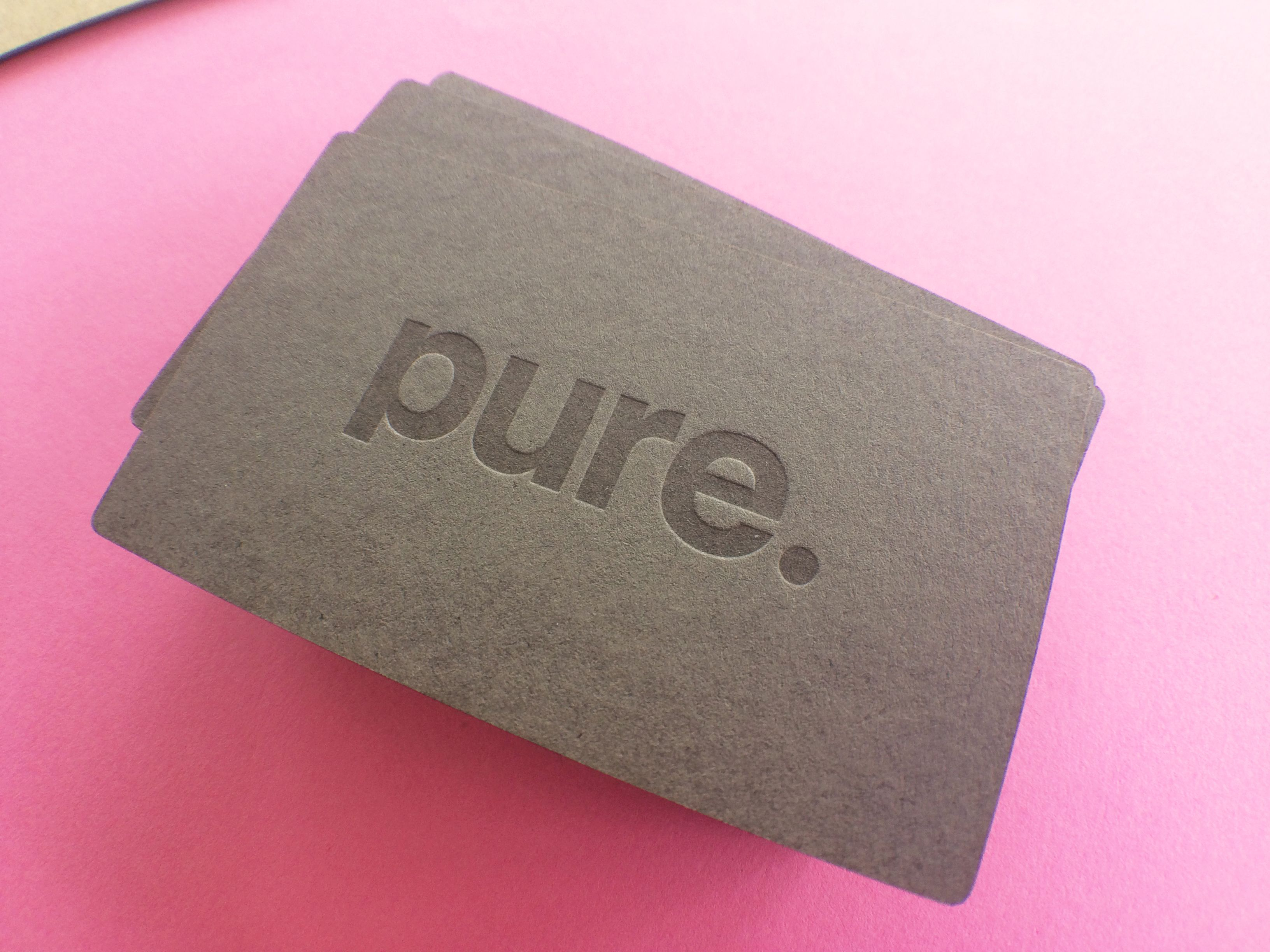 Letterpress business cards printed for Pure Interiors, Sydney ...