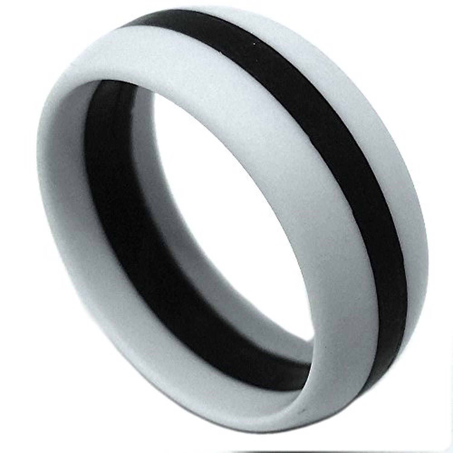 SAR SAFE ACTIVE RINGS 8MM Men or Ladies Flexible Gray Silicon