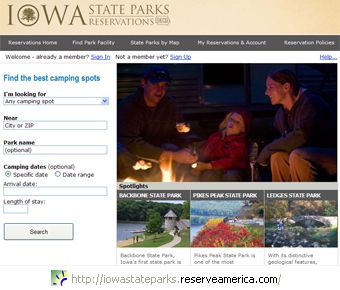 Log into our online Iowa state parks reservation system.