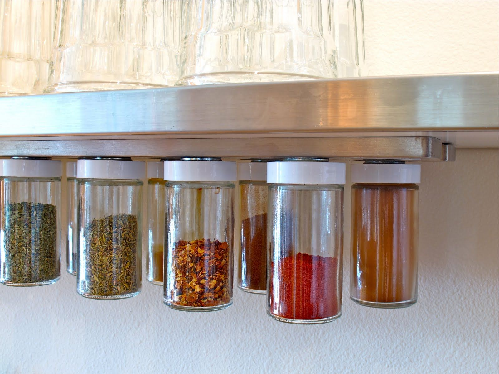 BluKatKraft: DIY Hanging Magnetic Spice Rack/Storage   I Will Try Using  Jars With Metal Lids So I May Not Need Washers