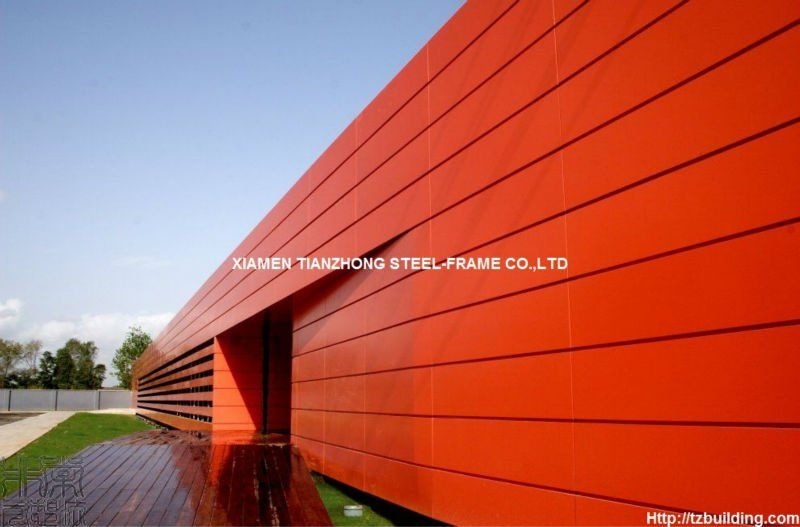 Red Cladding Wall Sandwich Panel Steel Structure Building