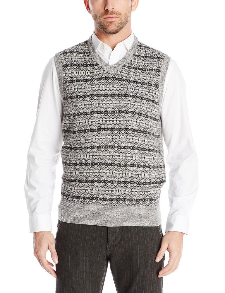 Dockers sweater vest v-neck grey textured 100% acrylic men's size ...