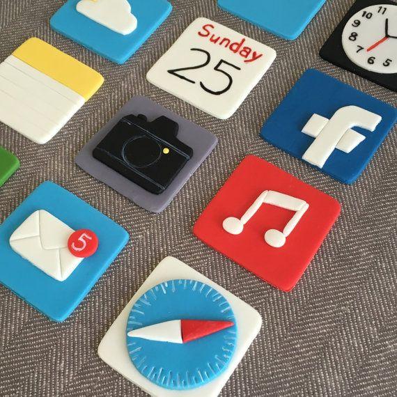 12 Apple iPhone themed fondant cupcake topper (safari