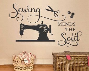 Wall Quotes Sewing Mends The Soul Seamstress Quote Sewing Room Decal Vinyl