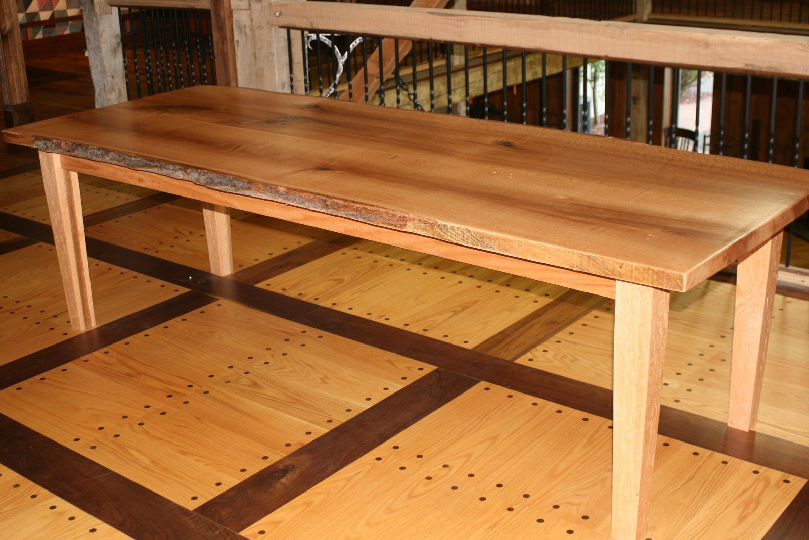 Live Edge Red Oak Farm Table with Hand Distressed Tapered Legs