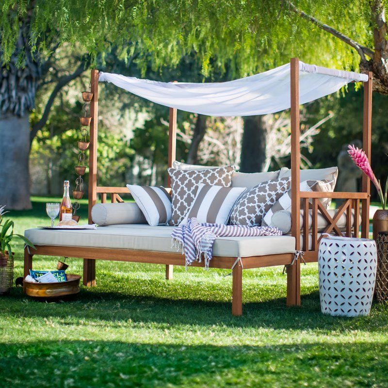 Good Patio Daybed And Ottoman SetEucalyptus Wood ConstructionNatural Finish100%  Polyester Cushions In Khaki2 Bolsters And 3 Back Pillows Included.