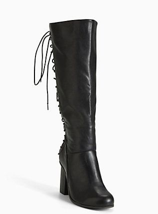 327f42a3bc45 Plus Size Lace Up Back Heel Boots (Wide Width   Wide Calf)