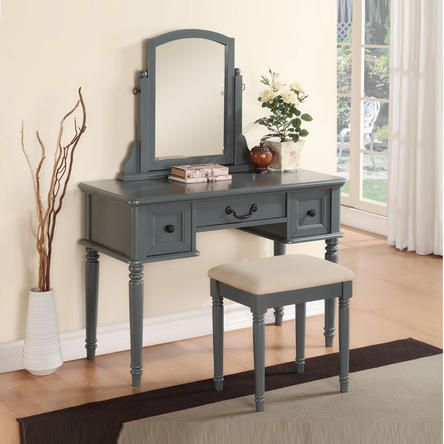frolax blue grey wood 3drawer vanity set make up table dresser with cushioned seat