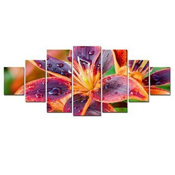 Startonight huge canvas wall art multicolored lily flower usa large home decor dual view surprise artwork modern framed wall art set of 7 panels