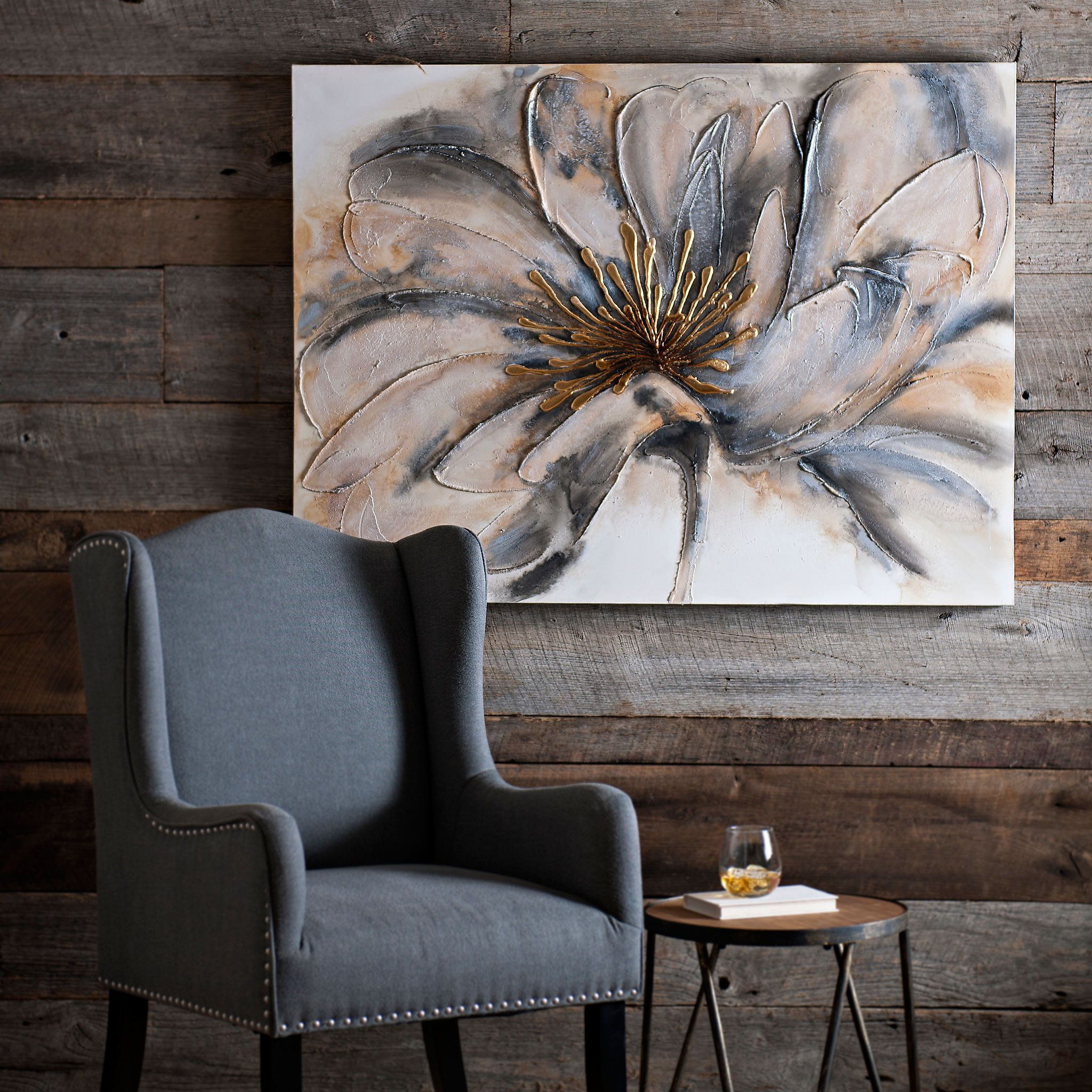 Gorgeous Golden Accent Wall Art Canvas Print Poster: Gold And Gray Bloom Canvas Art