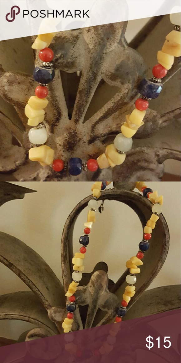 Artistic beaded multi-colored necklace Artistic beaded multi-colored necklace. Lobster clasp closing. Adds that little extra to your outfit!  New without tags. Jewelry Necklaces