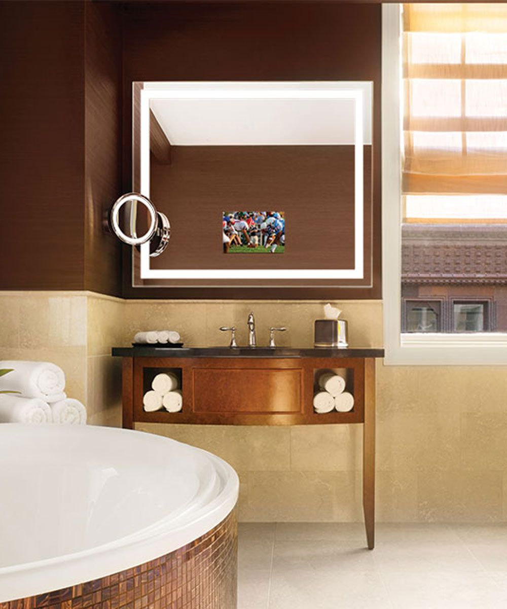 Bathroom Mirrors Chicago integrity™™ is a lighted mirror with a hidden led hdtv and has a